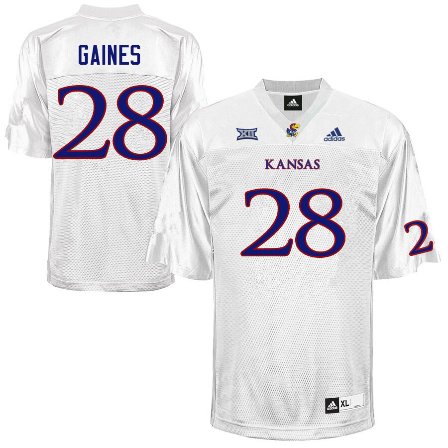 Men #28 Maurice Gaines Kansas Jayhawks College Football Jerseys Sale-White